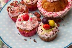 Diverse Muffins met room op een plaat Stock Foto