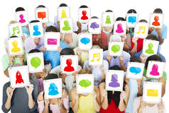 Diverse Multi-Ethnic People in a Social Networking Concept Royalty Free Stock Images