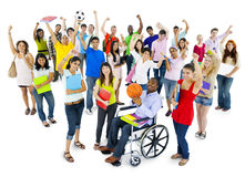 Diverse and Multi-ethnic Students Celebrating.  Royalty Free Stock Images