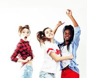 Diverse multi nation girls group, teenage friends company cheerf Royalty Free Stock Photos