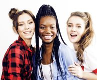 Diverse multi nation girls group, teenage friends company cheerf Stock Photo