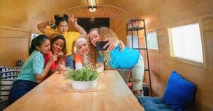 Diverse multicultural women friends get together and selfie together. Diverse multicultural women friends get together and taking selfie together in recreation