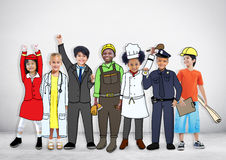 Diverse Multiethnic Children with Different Jobs.  stock photos