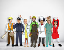 Diverse Multiethnic Children with Different Jobs.  royalty free stock photos
