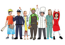 Diverse Multiethnic Children with Different Jobs Stock Photography
