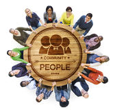 Diverse Multiethnic People in a Circle Holding Hands Royalty Free Stock Image