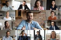 Multiethnic colleagues have webcam online team meeting