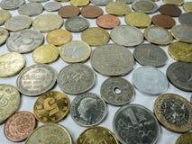 Diverse muntstuktypes op witte achtergrond Royalty-vrije Stock Foto's