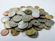 Diverse muntstuktypes op witte achtergrond Stock Afbeeldingen
