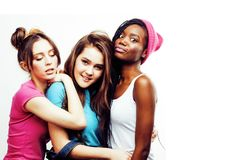 Diverse nation girls group, teenage friends company cheerful hav Royalty Free Stock Photo