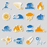 Diverse natuurrampenproblemen in de pictogrammen eps10 van wereldstickers Royalty-vrije Stock Afbeelding