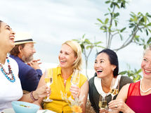 Diverse Neighbors Drinking Party Rooftop Concept Royalty Free Stock Photos