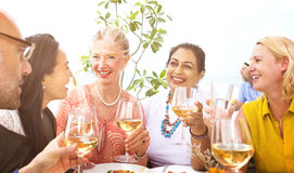 Diverse Neighbors Drinking Party Rooftop Concept Stock Photo