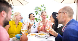 Diverse Neighbors Drinking Party Rooftop Concept Stock Image