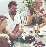 Diverse Neighbors Drinking Party Yard Concept Royalty Free Stock Image