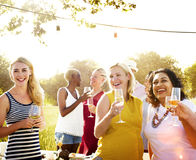 Diverse Neighbors Drinking Party Yard Concept Royalty Free Stock Photography