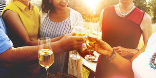Diverse Neighbors Drinking Party Yard Concept stock image