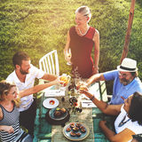Diverse Neighbors Drinking Party Yard Concept Stock Photography