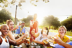 Diverse Neighbors Drinking Party Yard Concept stock images