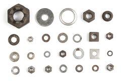 Diverse noten en wasmachines Royalty-vrije Stock Afbeeldingen