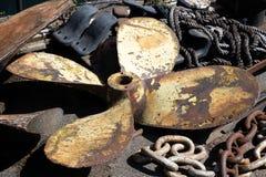 Diverse objekt av maritim utrustning vid SSNA Storbritannien i torr skeppsdocka i Bristol på Maj 14, 2019 fotografering för bildbyråer