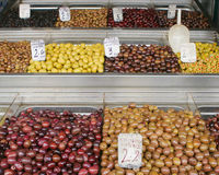 Diverse olives on the market. Diverse colored olives on the market Stock Photos