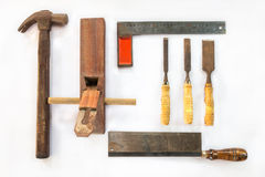 Diverse oude vakmanhulpmiddelen voor houten stock fotografie