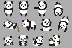Diverse panda vector illustratie