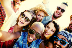 Diverse People Beach Summer Friends Fun Selfie Concept Stock Photo