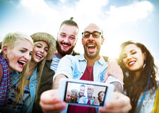 Diverse People Beach Summer Friends Fun Selfie Concept Stock Image