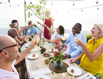 Diverse People Cheers Celebration Food Concept.  Stock Photos