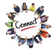 Diverse People in a Circle with Connect Concept.  royalty free stock photo