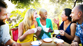 Diverse People Coffee Shop Outdoors Chat Concept Royalty Free Stock Images