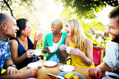 Diverse People Coffee Shop Outdoors Chat Concept Stock Photo