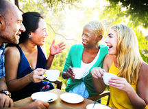 Diverse People Coffee Shop Outdoors Chat Concept Royalty Free Stock Photography