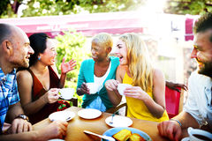 Diverse People Coffee Shop Outdoors Chat Concept Stock Photos