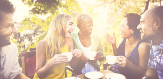 Diverse People Coffee Shop Outdoors Chat Concept Stock Images