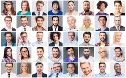 Diverse people. Collage of diverse multi-ethnic and mixed age people expressing different emotions stock photos