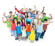 Diverse People. Diverse and Colorful People Celebrating stock photo