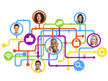 Diverse People Connected by Social Networking Royalty Free Stock Photo