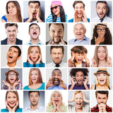 Diverse people with different emotions. Collage of diverse multi-ethnic and mixed age range people expressing different emotions Stock Image