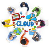 Diverse People Discussing About Cloud Network Stock Photography
