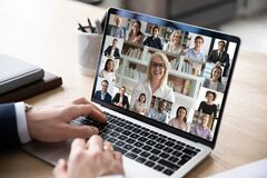 Free Diverse People Engaged In Group Video Call, Computer Monitor View Royalty Free Stock Images - 178125399