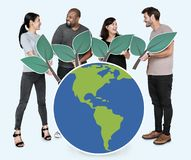 Diverse people with environmental conservation concept icons stock photography