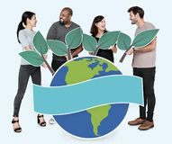 Diverse people with environmental conservation concept icons royalty free stock photo
