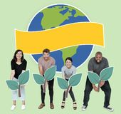 Diverse people with environmental conservation concept icons royalty free stock images