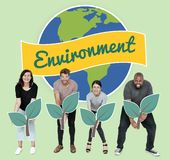 Diverse people with environmental conservation concept icons royalty free stock photos