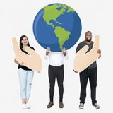 Diverse people with environmental conservation concept icons stock image