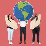 Diverse people with environmental conservation concept icons stock photos