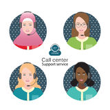 Diverse people of Female customer support operator. Diverse people of Female customer support operator with headset and smiling,  Cartoon character business Royalty Free Stock Photo